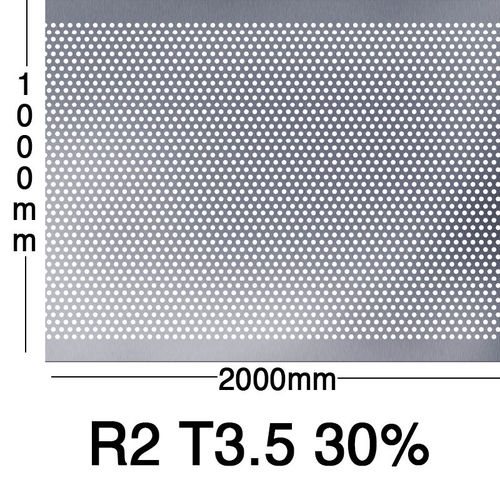 Reikälevy RST (AISI304) 1.0x1000x2000mm R2 T3.5 30%