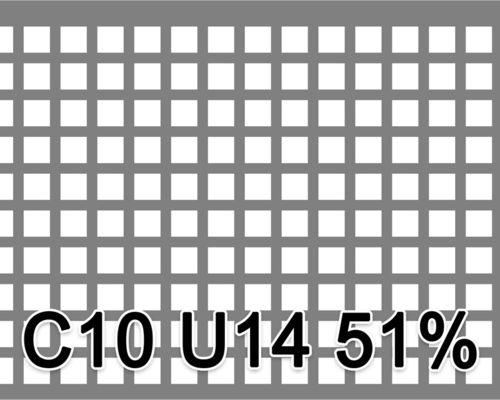 Neliöreikälevy RST (AISI304) 1.0x1000x2000mm C10 U14 51%