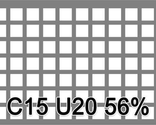 Neliöreikälevy RST (AISI304) 2.0x1000x2000mm C15 U20 56%
