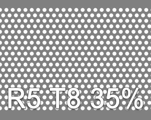 Reikälevy Musta teräs 1.0x1000x2000mm R5 T8 35%