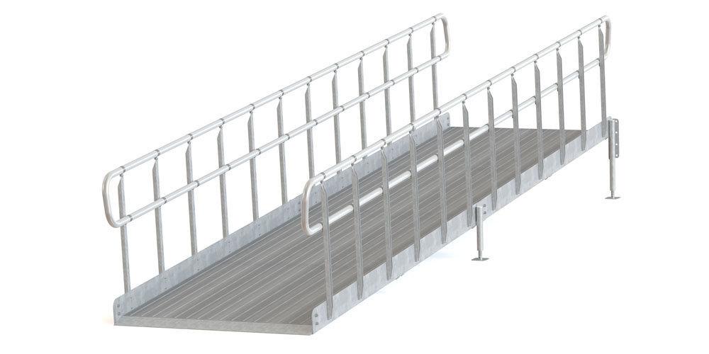 Invaramppi Kuumasinkitty 1300x4000mm RST kaide molemmin puolin