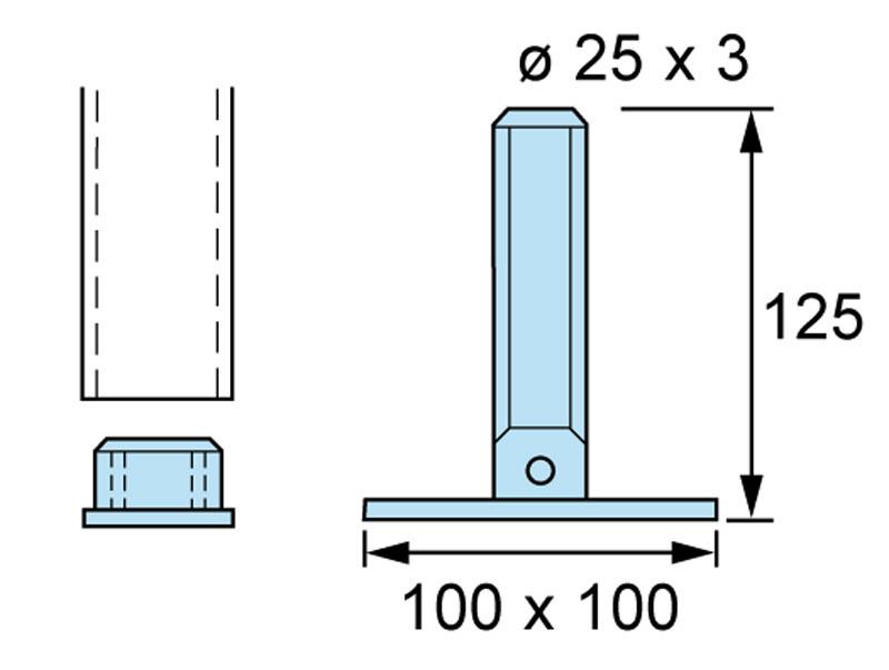 Invaramppi Kuumasinkitty 900x6000mm RST kaide yhdellä sivulla