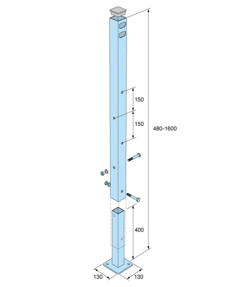 Invaramppi Kuumasinkitty 900x3000mm RST kaide yhdellä sivulla
